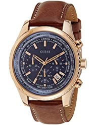 Guess Herren-Armbanduhr Analog Quarz Leder W0500G1