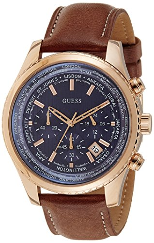 Guess Men's Quartz Watch with Blue Dial Analogue Display and Brown Leather Bracelet W0500G1