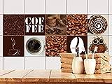 GRAZDesign 770490_15x15_FS10st Fliesenaufkleber Küche Kaffee-Set | Wand-Fliesen Aufkleber | selbstklebende Folie - einfache Verklebung | wieder ablösbar - für rechteckige Fliesen (15x15cm // Set 10 Stück)