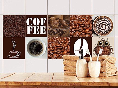 x15_FS10st Fliesenaufkleber Küche | Wand-Fliesen Aufkleber | Selbstklebende Folie | Wieder ablösbar - für rechteckige Fliesen (15x15cm // Set 10 Stück) ()