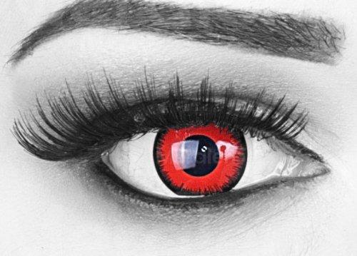 Ein Paar (2 Stück) Farbige Crazy Fun Kontaktlinsen MIT Stärke 'Red Lunatic' mit gratis Linsenbehälter. / BC 8.6 mm / DIA 14 mm / Von -1,00 bis -6,00 Dioptrien, perfekte (Lunatic Kostüm)