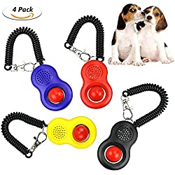 WisFox Klicker Clicker, 4 Pcs Profi Clicker mit Elastischer Handschlaufe Haustier Hundetraining Katzen Haustier Hunde