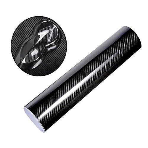 Vientiane auto autoadesivo in fibra di carbonio,5d pellicola autoadesiva lucida, 152 x 30cm adesivo decorativo protettivo per telefono, auto, pc, moto, bicicletta, chitarra (nero)