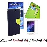 YuniKase Mi Redmi 4A /xiaomi redmi 4a (COMBO OFFER) Flip Cover Case (Wallet Style) + Free premium Tempered Glass screen Guard Protector (Blue Green)