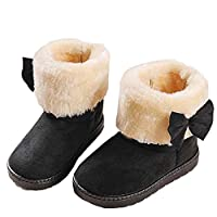 Children Shoes, Deloito Fashion Bowknot Winter Faux Suede Bowknot Fur Cuff Winter Baby Girl Style Cotton Boot Warm Hard Sole Snow Boots(Black,UK:4-4.5;Age:12-18M)
