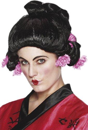 Smiffys Damen Geisha Perücke mit Blumen, Schwarz, One Size, 42129