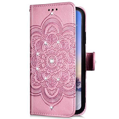Uposao Kompatibel mit Samsung Galaxy A8 2018 Hülle Leder Handyhülle Bling Glitzer Strass Diamant Mandala Blumen Muster Brieftasche Schutzhülle Flip Case Klapphülle Handy Tasche Etui,Rose Gold