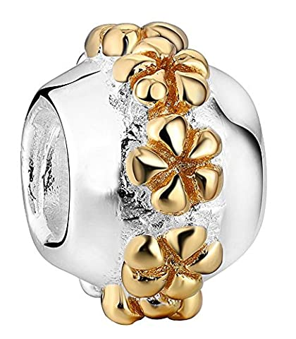 SaySure - 925 Sterling Silver Charm Flowers Charms European Bead
