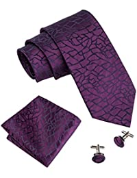 Barry.Wang Mens Ties Pocket Square Cufflinks Tie Set Neckties