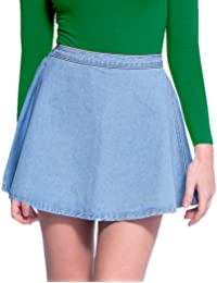 Denim Skater Button Waist Circle Skirt - Mid Wash
