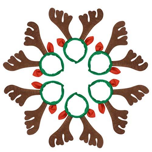 Lurrose 6pcs diademas navidad cuernos reno aros pelo