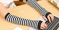 New Akira 34*18cm Long Sleeve Striped Fingerless Gloves Lady Stretchy Soft Knitted gloves (Black and white)