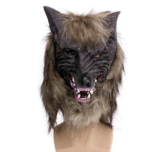 Junlinto Halloween Latex Tier Wolf Kopf mit Haar Maske Kostüm Kostüm Party Scary
