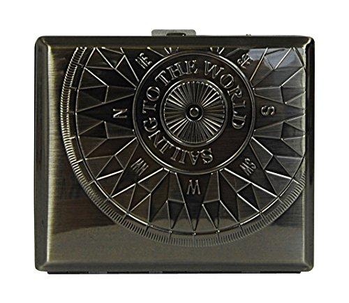 Sellmando Zigarettenetui Metall Kompass Antik mit Bügel für 18 Zigaretten (Anthrazit) -