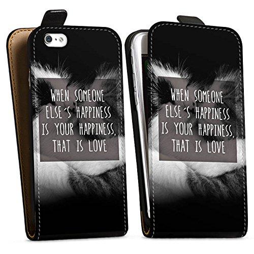Apple iPhone X Silikon Hülle Case Schutzhülle Happiness Katzen Love Downflip Tasche schwarz