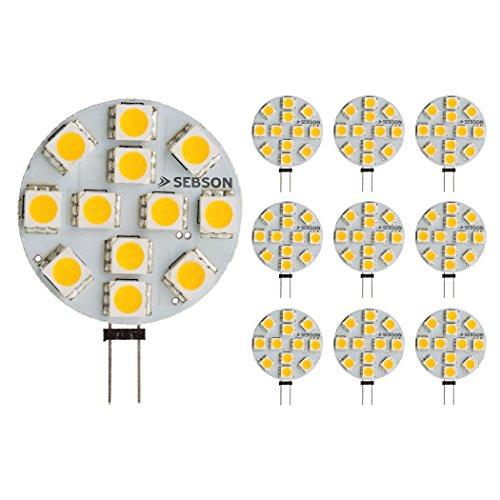 LED Lampe G4 warmweiß 3W (2.5W), ersetzt 20W Glühlampe, 200lm, GU4 Stiftsockel 12V DC, Leuchtmittel 110°, 10er Pack