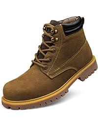 ailishabroy Botas de Cuero Marrones Para Hombre Zapatos de Tacón Alto Con Cordones Planos de Oxfords