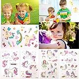 BRT Unicornio tatuajes temporales (25 hojas) para niños niñas, unicornio tatuaje falso pegatinas para niños fiesta de cumpleaños suministros para fiestas favorece bolsos del partido relleno