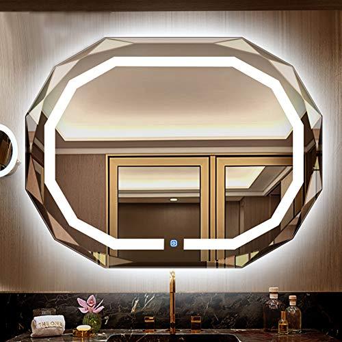 QL Wandspiegel, LED-Licht Badezimmerbeleuchtung Kosmetikspiegel, Touchscreen, IP54 wasserdicht, für Schlafzimmer, Bad - Classique 4 Licht