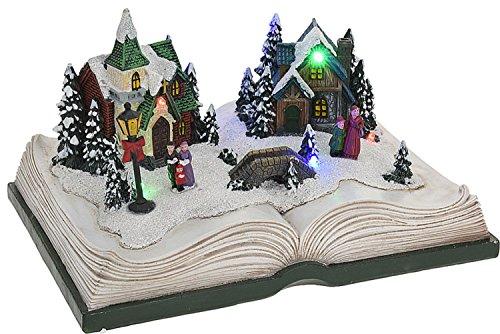 Eliware Weihnachtsdorf auf einem Buch mit LED Beleuchtung | Grün