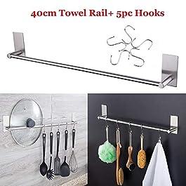 """(3M adesivi) Barra porta asciugamano con 5 ganci""""S"""",bello e resistente,porta asciugamani facile installarlo,perfetto per chi non vuole fare buchi nei muri,porta asciugamani in acciaio inox 40cm"""