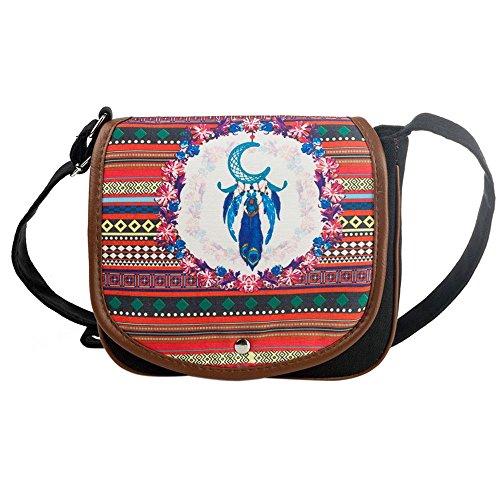 TIFIY Damen Unterscheidend Ethnischer Stil Böhmen Boho Traumfänger Drucken Segeltuch Schulter Tasche (F) (Schulter Drucken Tasche Leder)