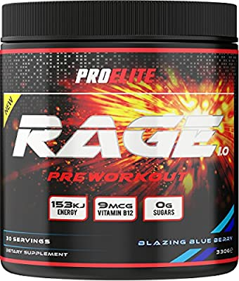 PROELITE Rage 1.0 PreRippd 30 Servings (330g) Pre-Workouts/Energy / Pump Supplement Powder Pre Workout Drink by PROELITE