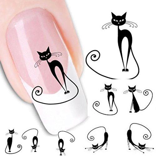 Internet XF1442 Transferts à l'eau Motif Chat Water decals Autocollants pour nail art Décor d'ongles