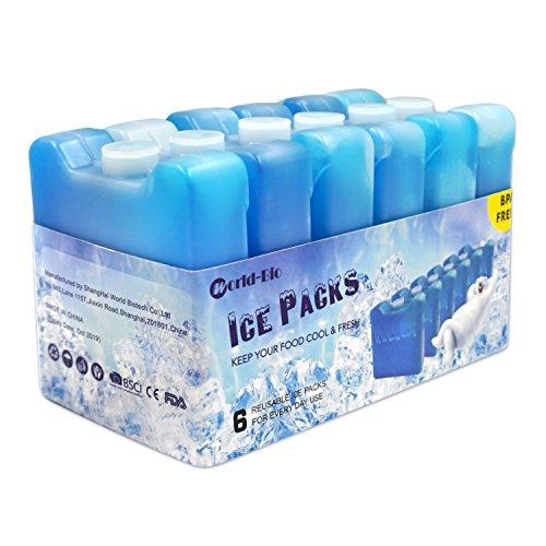 6er Set Mini Kühl-Elemente Wiederverwendbar Gefrierschrank für die Kühltasche | Kühl-Akku für die Brotdose Slim Baby-flasche