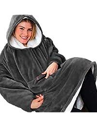 Huggle Hoodie - Sudadera Unisexo con Capucha Ultra Plush Manta, Invierno Caliente Chaqueta Reversible Talla Única para Casa/Oficina/Haciendo Unos Mandados/Cámping