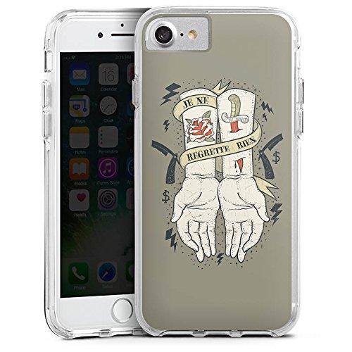 Apple iPhone 6 Bumper Hülle Bumper Case Glitzer Hülle Tattoo Phrase Spruch Bumper Case transparent