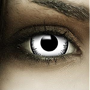 """Mini Sclera Kontaktlinsen """"Vampir"""" + Kunstblut Kapseln + Behälter von FXContacts in schwarz weiß, weich, ohne Stärke als 2er Pack – farbige lenses perfekt zu Halloween, Karneval, Fasching oder Fastnacht"""