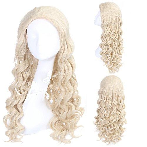 White Queen Perücke Cosplay Kostüm Wig Lange Weiße Welliges Haar Zubehör Hair Accessories