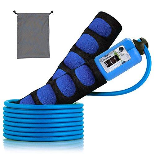 SZPLUS Cuerda para Salto de Velocidad comba cuerda de saltar con contador automático y asas esponja de goma Ajustable Para Cualquier Estatura - Ideal para CrossFit, Boxeo y Entrenamiento Deporte