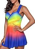 Mooyii Damen Badeanzug Figurformend V-Ausschnitt Bademode Tankini Einteiler Sommer Swimsuit Schwimmanzug Strandmode Swimming Suit S - 5XL