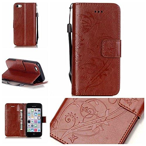 iPhone Case Cover IPhone 5C Case, Premium PU Housse en cuir Housse Folio Flip Stand Case Embossing Fleur pour iPhone 5C ( Color : Red , Size : IPhone 5C ) Brown