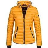 Marikoo Lola Damen Jacke Steppjacke Übergangsjacke gesteppt Übergangs XS-XXL 15-Farben, Farbe:Gelb, Größe:S - 36