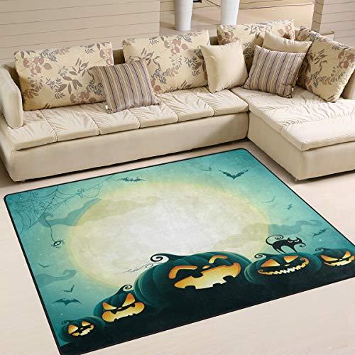 h, Fledermaus, Kürbis-Kätzchen, Halloween-Teppich, für Wohnzimmer, Schlafzimmer, Textil, Mehrfarbig, 160cm x 122cm(5.3 x 4 feet) ()