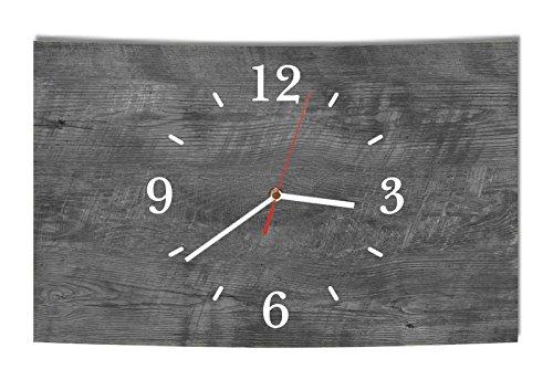 LAUTLOSE Designer Wanduhr Holz Optik grau ebenholz modern Dekoschild Abstrakt Bild 39 x 25cm