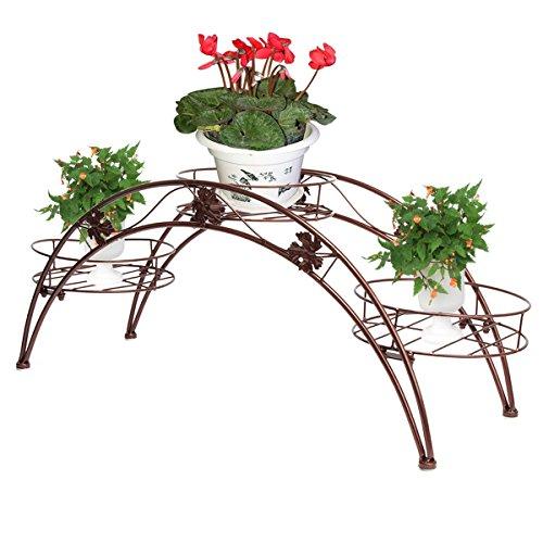 Étagère de Pots de Fleurs Plantes Arche en Métal Fer Forge pour Décoration Maison Jardin Bronze-Dazone®