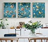 OBELLA Malen nach Zahlen 3 teilig Bilder für erwachsene triptychon XXL DIY ölgemälde 50x40 cm x3 Liebesvögel Pfirsichblüten Schmetterling (Mit Rahmen)