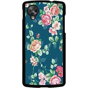 Casotec Vintage Floral Design 2D Hard Back Case Cover for LG Nexus 5 E980 - Black