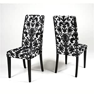 Pair of fabric dining chairs black white flower fabric for Black fabric dining room chairs