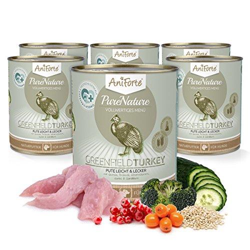 AniForte® PureNature Hundefutter Greenfield Turkey 6 x 800g - Naturprodukt für Hunde