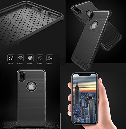 iPhone8 7 Plus Soft Armor Case, Awesome Carbon Fiber Bumper Frame Luxury Soft Thin Cover, WEIFA Cool Ultralight Slim Anti-Scratch Phone Protection Case For iPhone 8 7Plus Black !Blue