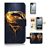 (For iPhone 6 / iPhone 6S) Flip Wallet Case Cover & Screen Protector Bundle - UKA20093 Superman