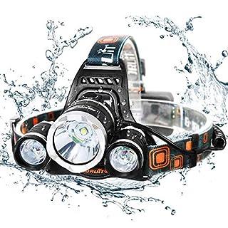 Caloics Kopflampe, Boruit® Stirnlampe mit 5800 Lm, wasserdicht und wieder aufladbar mit 3 Stück XML L2 LED. Super Helle Taschenlampe mit 4 Modi aus Aluminium als Arbeits-Licht, Fahrradleuchte, Taschenlampe für Camping ,Wanderungen, Jagd und mehr