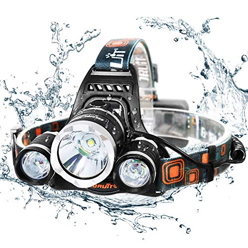 Caloics Kopflampe, Boruit® Stirnlampe mit 5800 Lm, wasserdicht und wieder aufladbar mit 3 Stück XML L2 LED. Super Helle Taschenlampe mit 4 Modi aus Aluminium als Arbeits-Licht, Fahrradleuchte, Taschenlampe für Camping ,Wanderungen, Jagd und mehr -