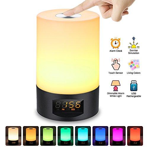 SOLMORE Réveil Lumineux Veilleuse LED RGB USB Rechargeable 3 Luminosité 7 Couleur 6 Sonnerie Naturel Réglable Lampe de Chevet Wake up Light Sunrise Simulation Lampe Horloge Réveille Matin Multicolore