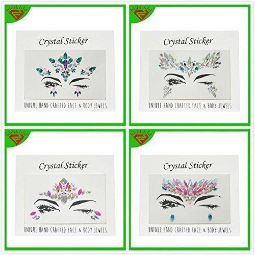 (treasure-house 4 Sets Mermaid Face Gems Festival Jewels Crystals Bindi Rainbow Tears Rhinestone Tattoo Face Rocks)